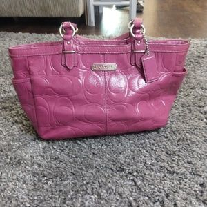 Coach satchel purse pink embossed patent leather